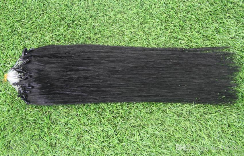 Jet Black Brazilian micro ring loop hair extensions 100g/pc Micro Bead Links 100% Brazilian Remy Human Hair