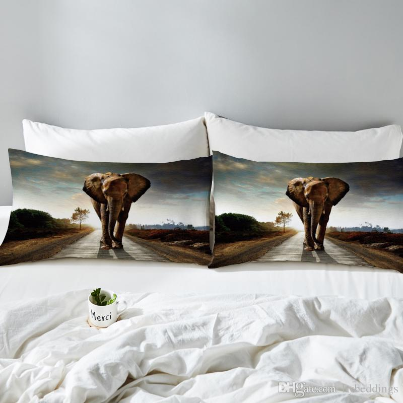 3d Elephant Pillowcase Indian Animal Printed Decorative Pillow Case