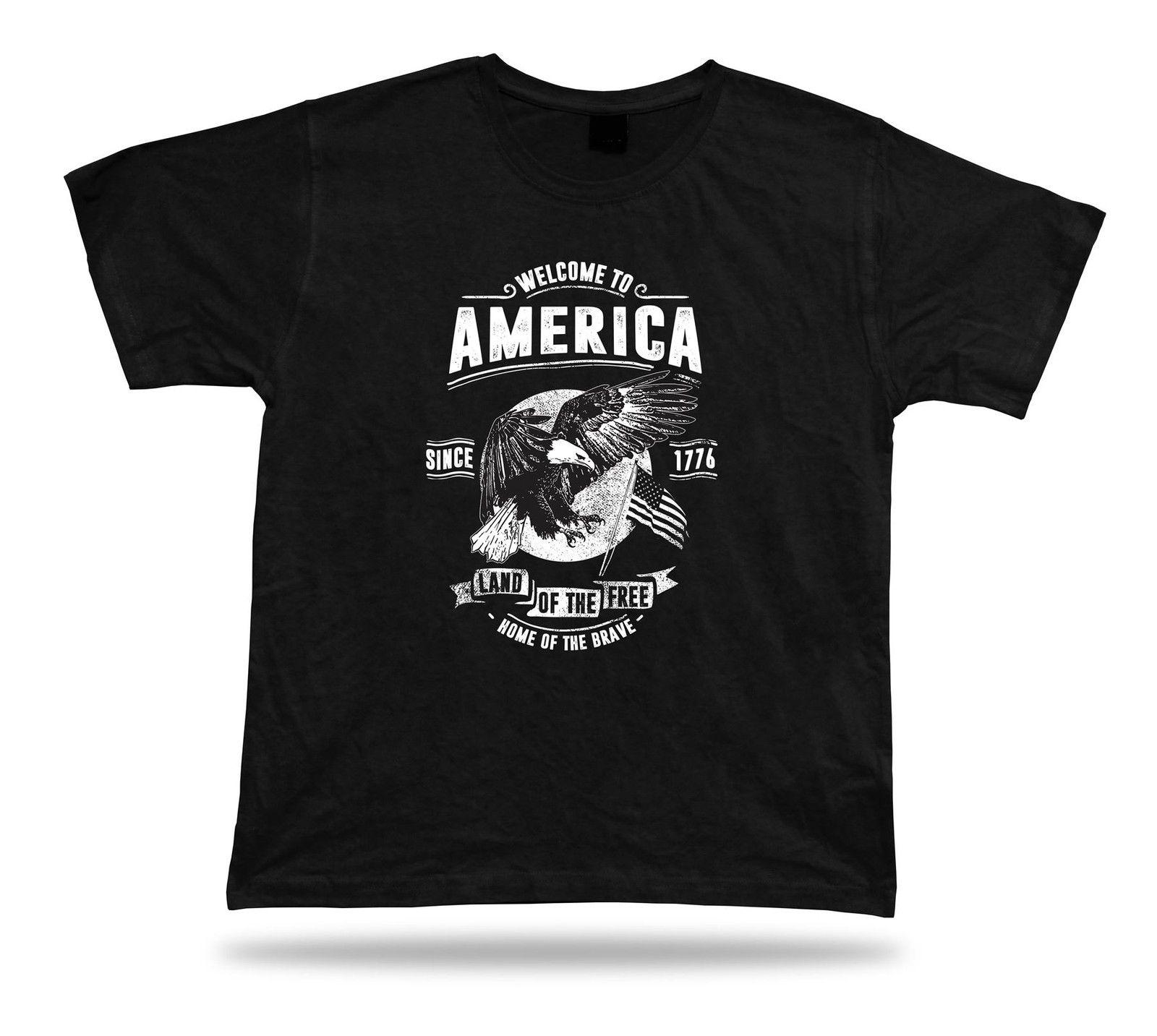 Tshirt Tee Shirt Birthday Gift Idea Welcome To America Freedom USA Retro Style Online With 1854 Piece On Coolteess Store