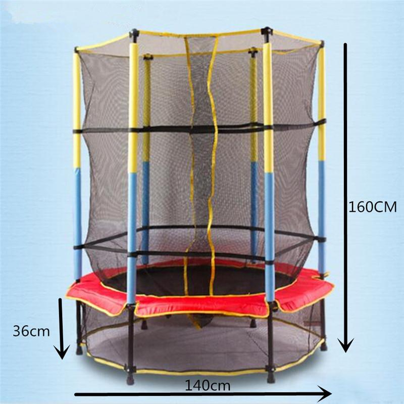 2019 160140cm 45ft Children Trampoline With Safety Net Enclosure Indoor Outdoor Kids Sport Fitness Activity Equipment From Teahong