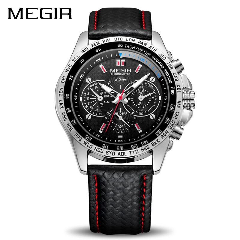 dea3852f864 Compre MEGIR Esporte Mens Relógios Top Marca De Luxo Homens De Quartzo  Relógio De Moda Casual Preto PU Strap Relógio Homens Big Dial Erkek Saat  1010 ...