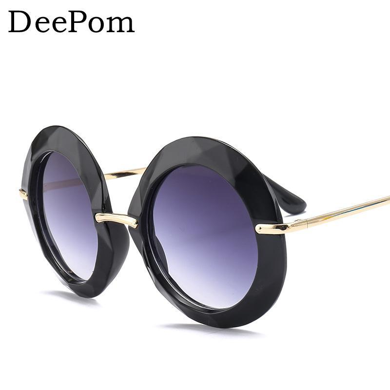 a0d6f1f74d99 Deepom Women s Round Sunglasses Black Lady s Oversized Beach Sun Glasses  Round Eyewear Ladies UV400 Goggles Retro Female Male Wholesale Sunglasses  Cool ...