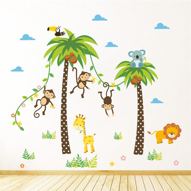 Jungle Wild Animals Giraffe Lion Monkey Palm Tree Wall Stickers For
