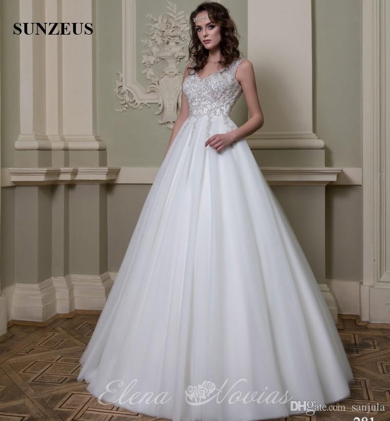 compre elegante con cuello en v vestido de novia a medida de alta