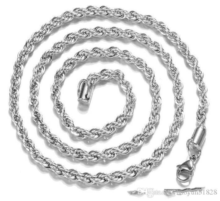 Neue Ketten 925 Sterling Silber Halskette Ketten 3 MM 16-30 Zoll Hübsch Niedlich Mode Charme Seil Halskette