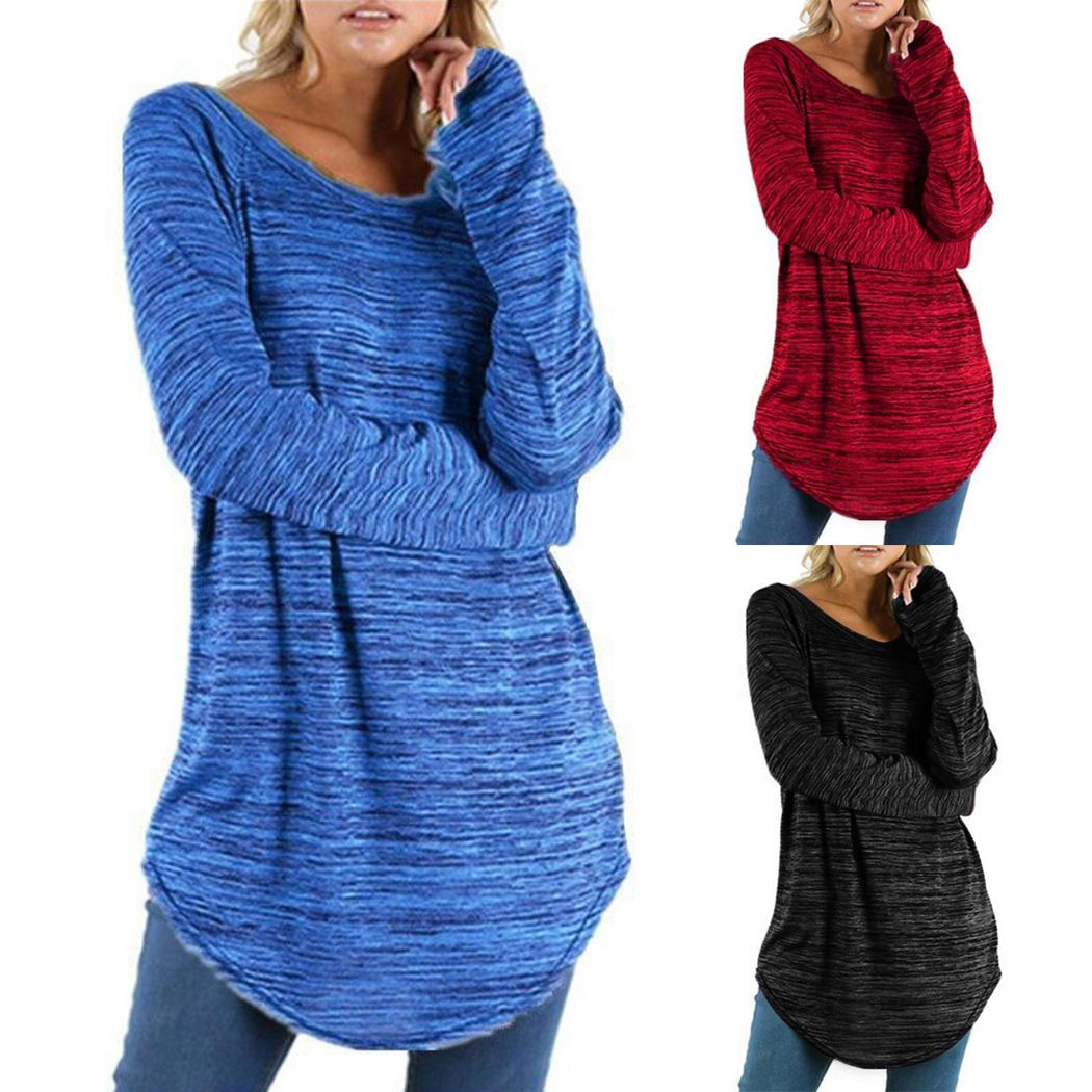f4afd153e39 Plus Size T Shirt Women Long Sleeve Loose Tops Tunic T-Shirt Casual ...