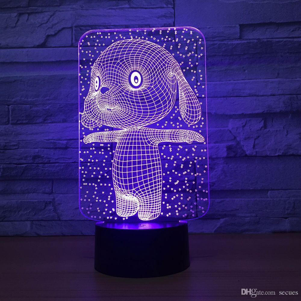 Cute Dog 3D Optical Illusion Lamp Night Light DC 5V USB Powered AA Battery Wholesale Dropshipping Free Shippin
