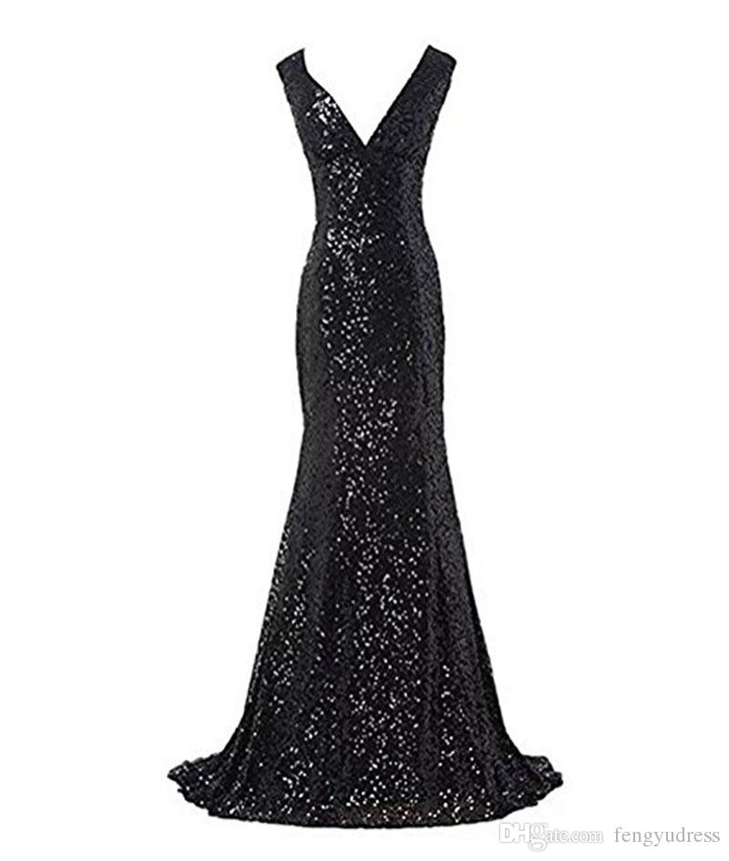 2018 Hot Sale Women's Sequin Sexy V-neck Evening Gown Mermaid Sleeveless Prom Dresses Special Occasion Dresses
