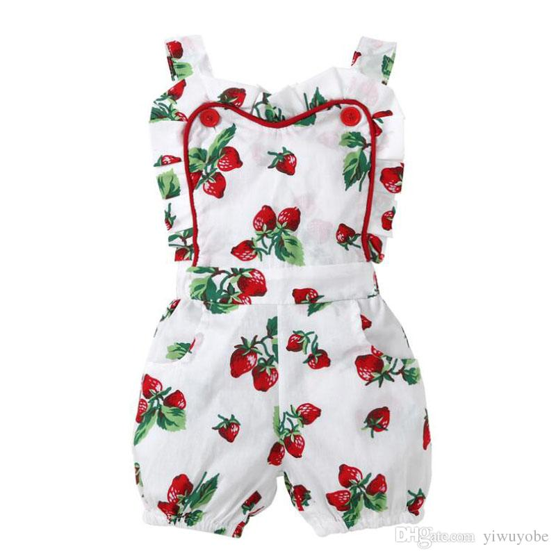 New designs baby girls strawberry jumpsuit children summer clothing infant girls camisole rompers for 70-100cm wholesale