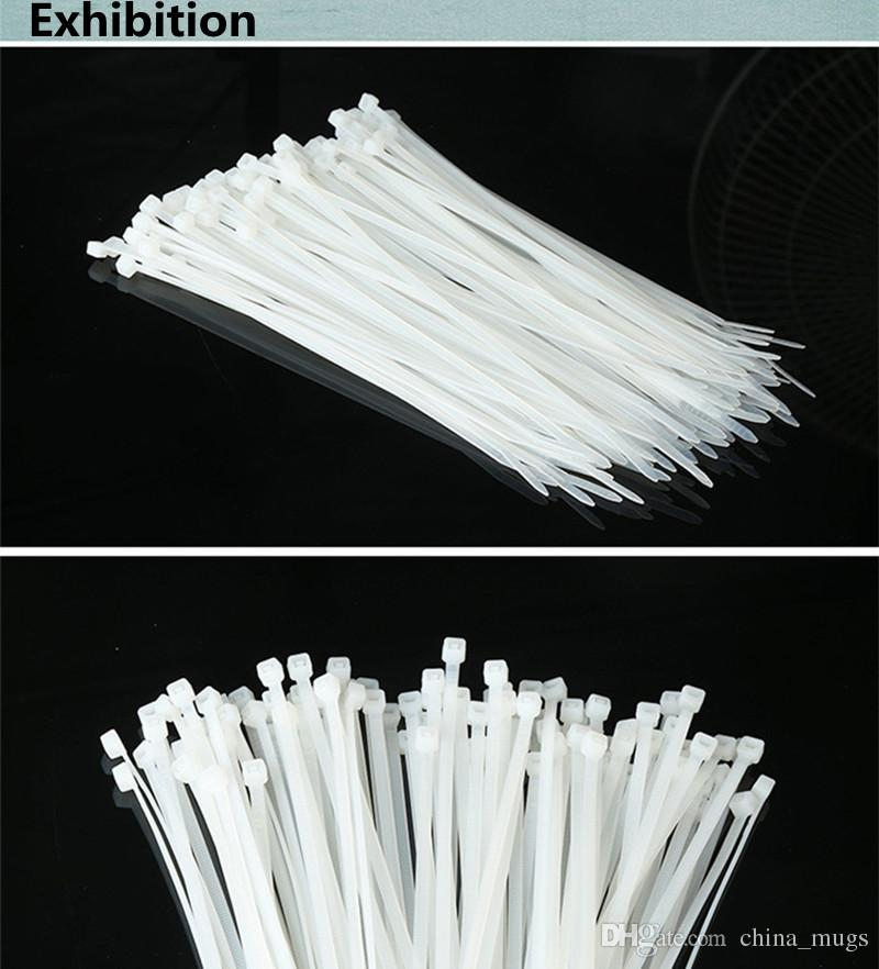 5*400mm Self-Locking Nylon Cable Ties /Pack Cable Zip Tie Loop Ties For Wires Tidy White Black