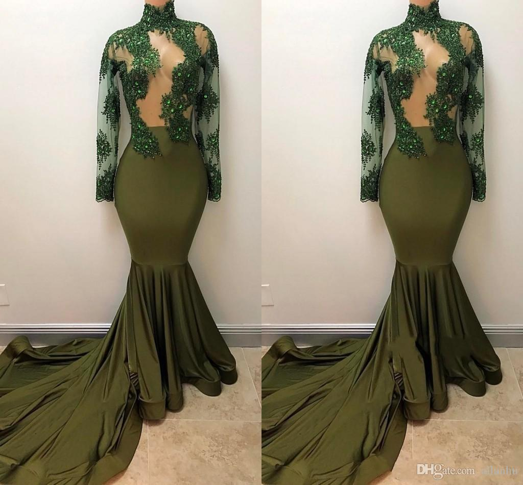 Elegant Olive Green Mermaid Evening Dresses High Jewel Neck Lace Long Illusion Sleeves Applique Court Train Evening Prom Dress Party Gowns