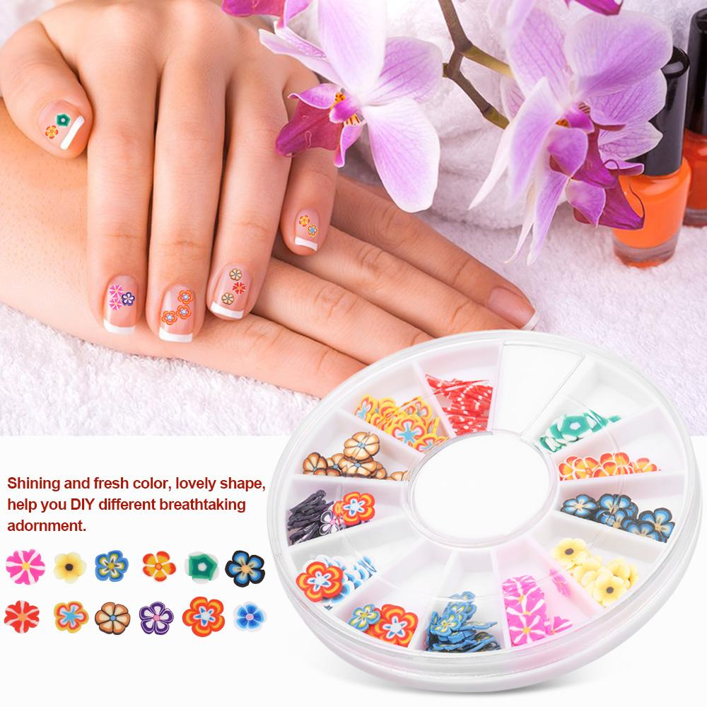 12 Grids 3D Nail Art Decoration Fruit Flower Slices Manicure ...