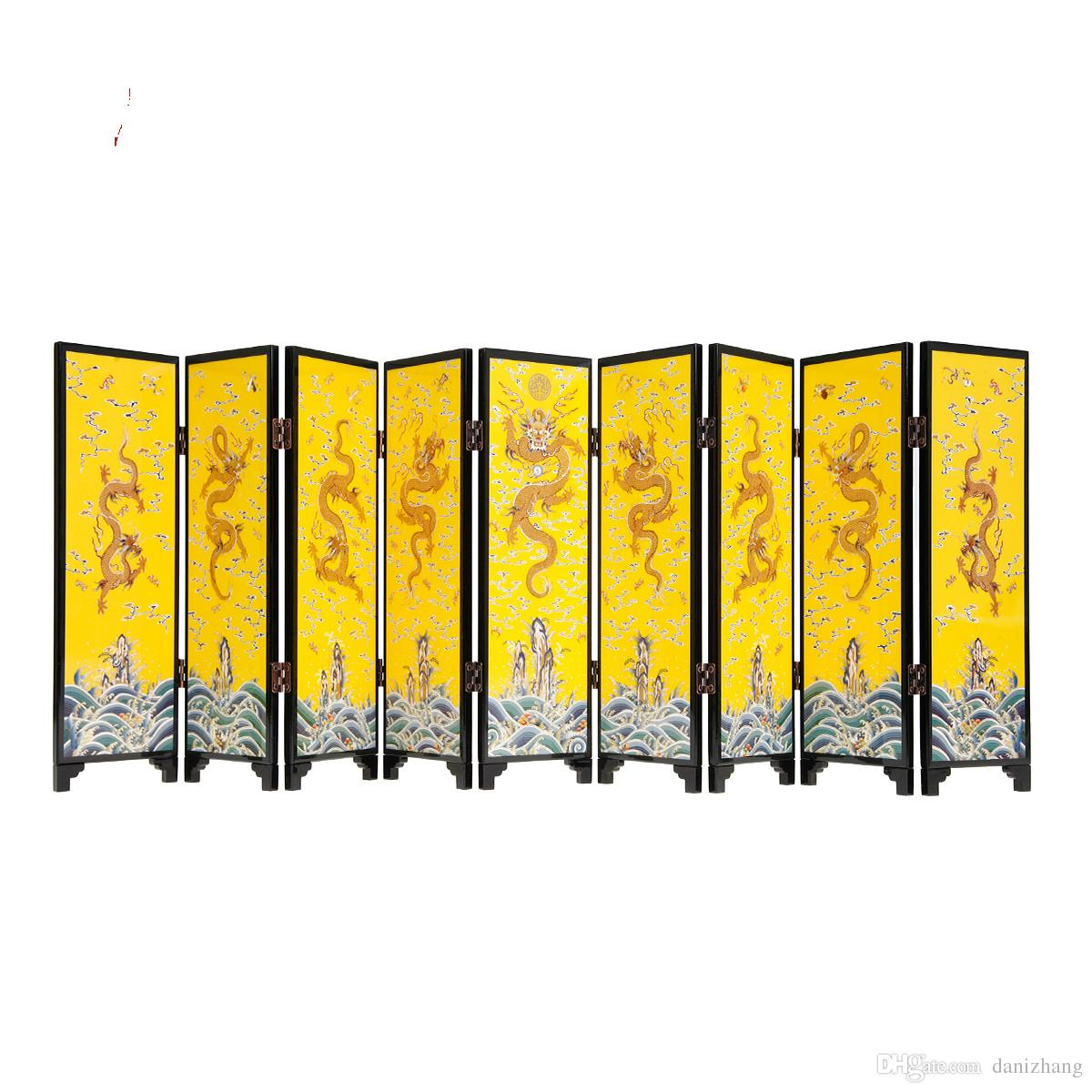 Lifelike Gloden Kowloon Nine films Screen Decoration Hot stamping lacquerware material Gift Package 23.3x67cm