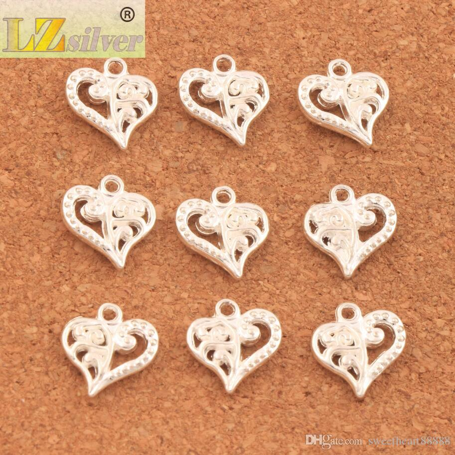 200 stks / partij Bloempatroon Hart Charms Antiek Zilver / Goud / Brons Hangers Sieraden DIY Fit Armbanden Ketting Oorbellen L919