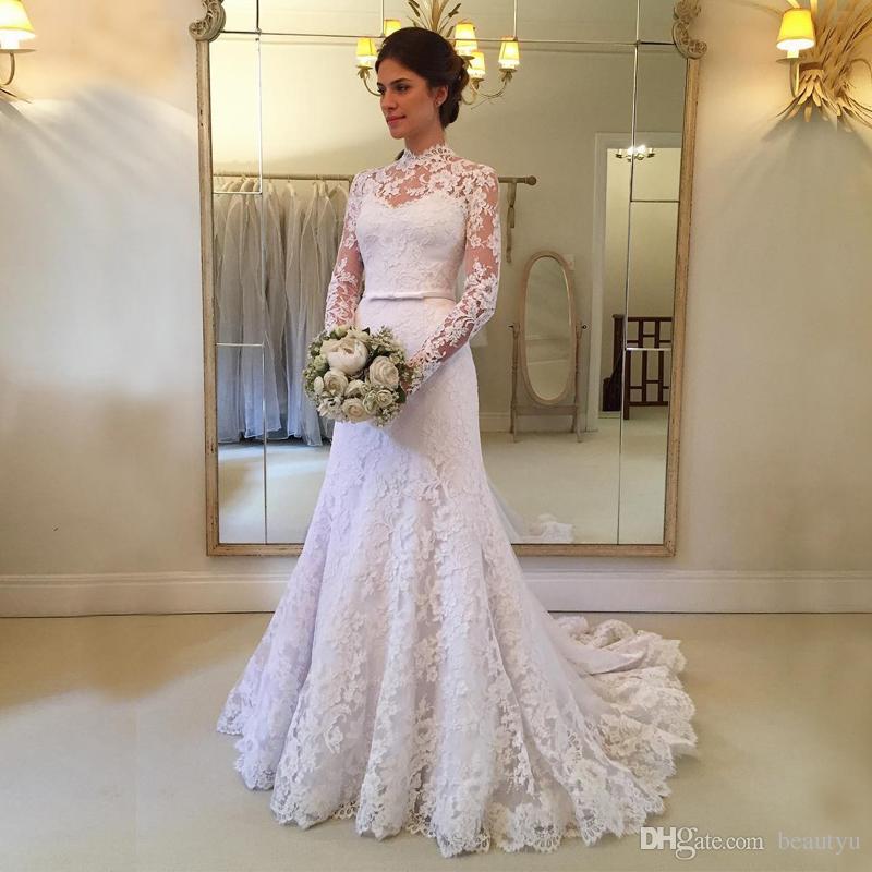 Elegant Lace Mermaid Wedding Dress High Neck Sheer Long Sleeves ...