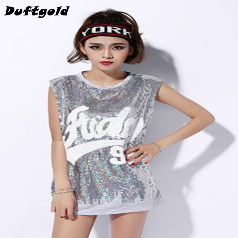 8759e8878c92 2019 2018 New Fashion Spice Girls Sequins Sexy Dance Wear Women Hip Hop  Shirt Nightclub Stage Costumes Cheerleading Clothing Duftgold From Donahua,  ...