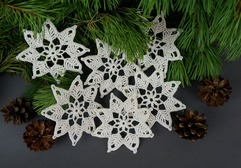 Crochet snowflake set christmas tree decorations christmas tree ornaments hanukkah gift winter - Decoration au crochet ...