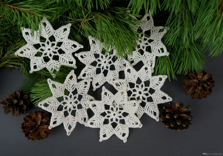 Acquista set di fiocchi di neve all uncinetto pezzi decorazioni