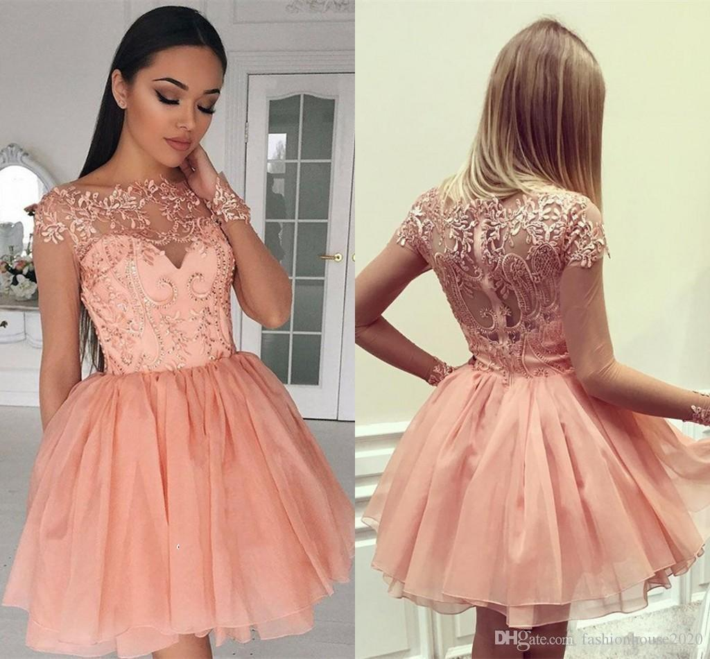 02fa5c48ae3 2018 Peach Short Mini Arabic A Line Homecoming Dresses Jewel Neck Lace  Appliques Sequins Long Sleeves Tiered Tulle Cocktail Prom Party Gowns  Homecomming ...