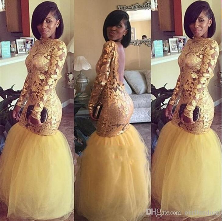 Yellow Long Sleeve Gold Lace Prom Dresses 2018 Mermaid Tulle Open Back Sexy Evening Dress Custom Made Party Gown