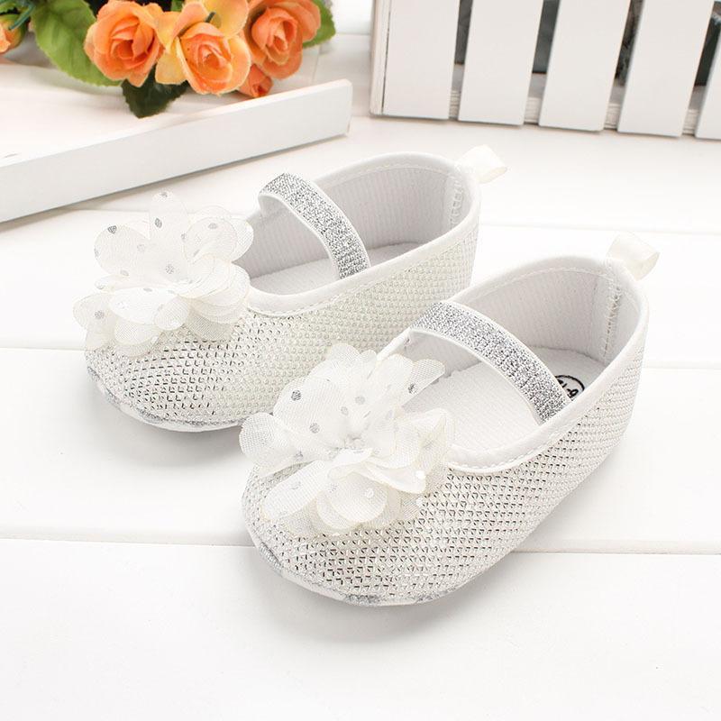 Grosshandel Infant Baby Mode Silber Kristall Prinzessin Schuhe Weiche