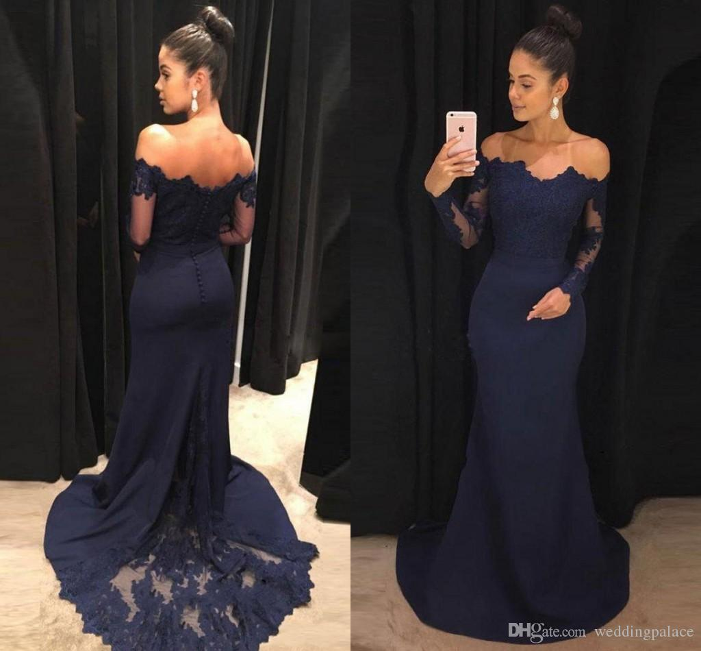 6bf08d3ddc Off The Shoulder Navy Blue Mermaid Prom Dresses Long Sleeves Lace Satin  Evening Dresses Formal Evening Dress Elegant Prom Dress Formal Gowns Dark  Blue Prom ...