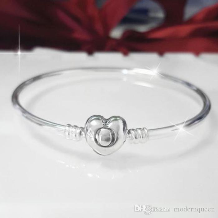 a6a7d1cdf Moments Silver Bangle Bracelets Logo Heart Clasp S925 Sterling ...