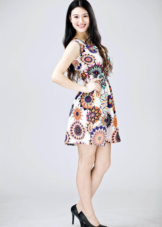 a4975ada0 Compre 2019 Mujeres Verano Sin Mangas Girasol Imprimir Señora Casual Beach  Mini Vestido Sexy Vestidos De Mujer Elegante Vintage Casual Camisa Vestido  A ...