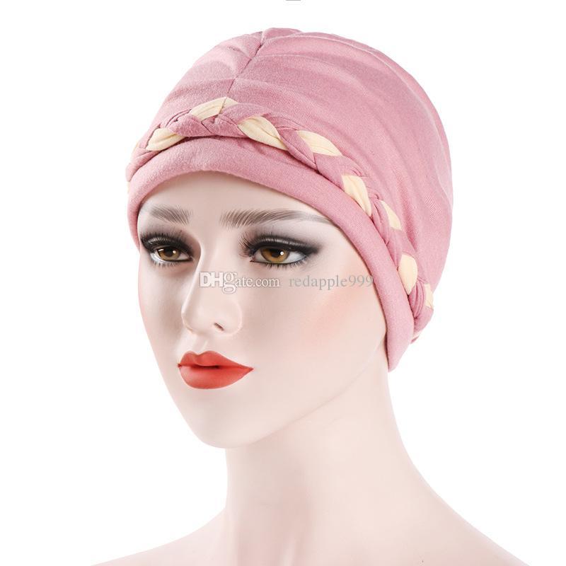 322895d5a77 Muslim Women Stretch Braid Cotton Turban Hat Scarf Cancer Chemo Beanies Caps  Hijab Headwear Head Wrap For Hair Loss Beanie Caps Slouchy Beanie Crochet  ...