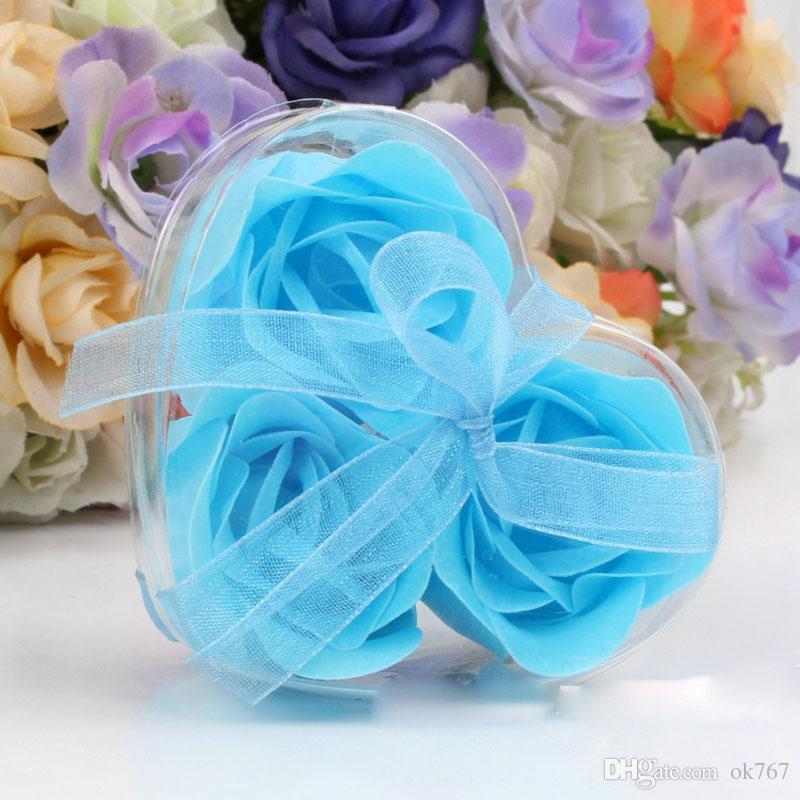 3 pezzi scatola di cuore a forma di sapone fatto a mano rosa sapone petalo fiore di carta di fiori di simulazione = 1 scatola regali di compleanno festa di san valentino