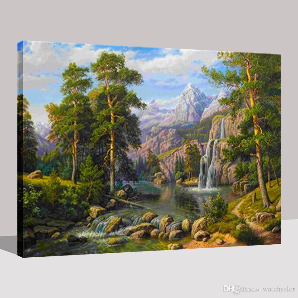 Pintura al óleo de bricolaje por kits de los números para colorear pintados a mano abstracto árboles Cascada montañas lienzo imágenes paisaje pared decoración del hogar