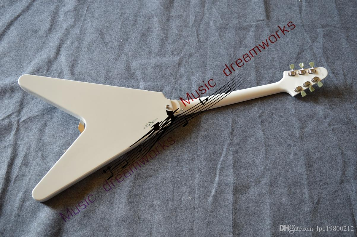 Top Musical instruments Newest White Flying V Electric Guitar From China