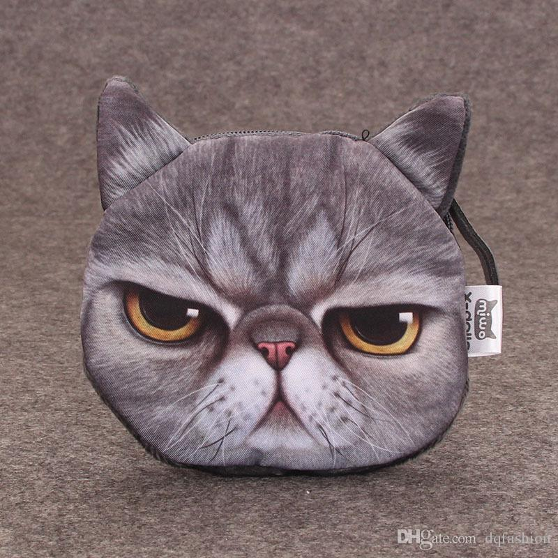 Round Mini Wallet 3D Printed Cute Cat Dog Animal Face Coin Purse With Zipper Soft Key Bags Creative