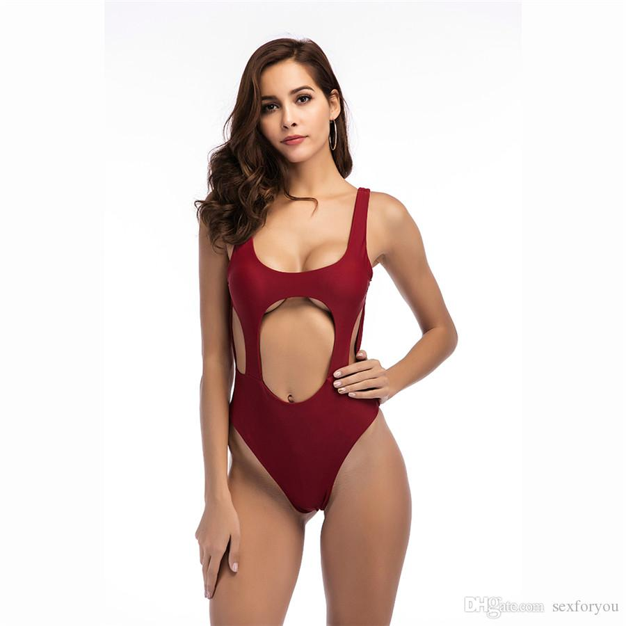 90345c8e5b 2018 Hot One Piece Swimsuit Women Thong Swimwear Backless White Black Pool Bathing  Suit Swimming Suits Sexy High Cut Monokini From Sexforyou .