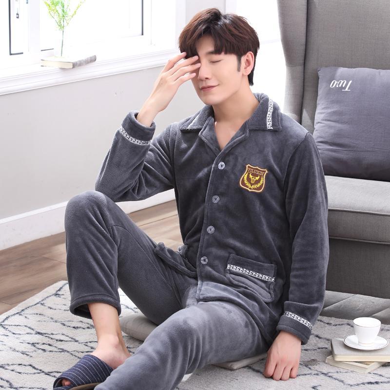 a7885e91502d 2019 JRMISSLI Winter Flannel Men S Pajama Set Warm Thicken Coral Fleece Men  Pajamas Men Nightwear Solid Home Sleepwear Suit From Junxcj