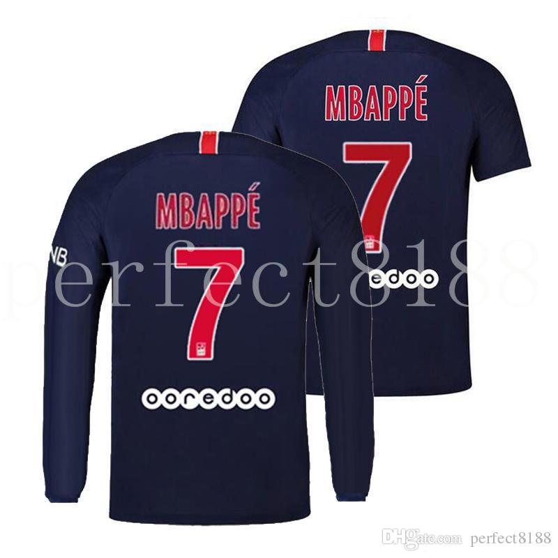 new arrival 4403c f1a2c New No.7 MBAPPE Soccer Jersey Long Sleeve 2018 2019 PSG NEYMAR JR Football  Shirt Custom Home Away Maillot de foot