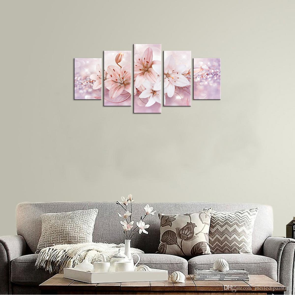 Lily Flower Wall Art Painting Starlight Background Picture Fashion Contemporary Wall Art For Home Decor with Wooden Framed