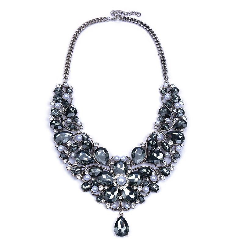 Jewelry Sets Women 2016 ZA Crystal Necklace Earring Choker Flower Black Luxury Pearl Rhinestone Wedding Gem Fashion Accesory