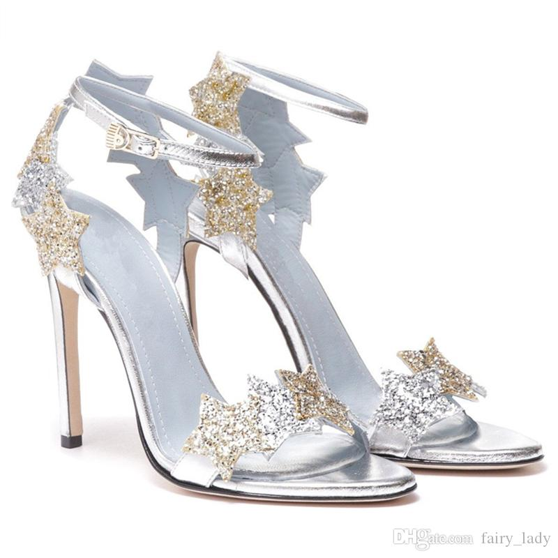 Sparkling Sequined Stars 8 CM High Heel Sandals Women Pumps 2018 Sexy Peep Toe Ankle Buckle Wedding Shoes Party Evening Prom Gowns