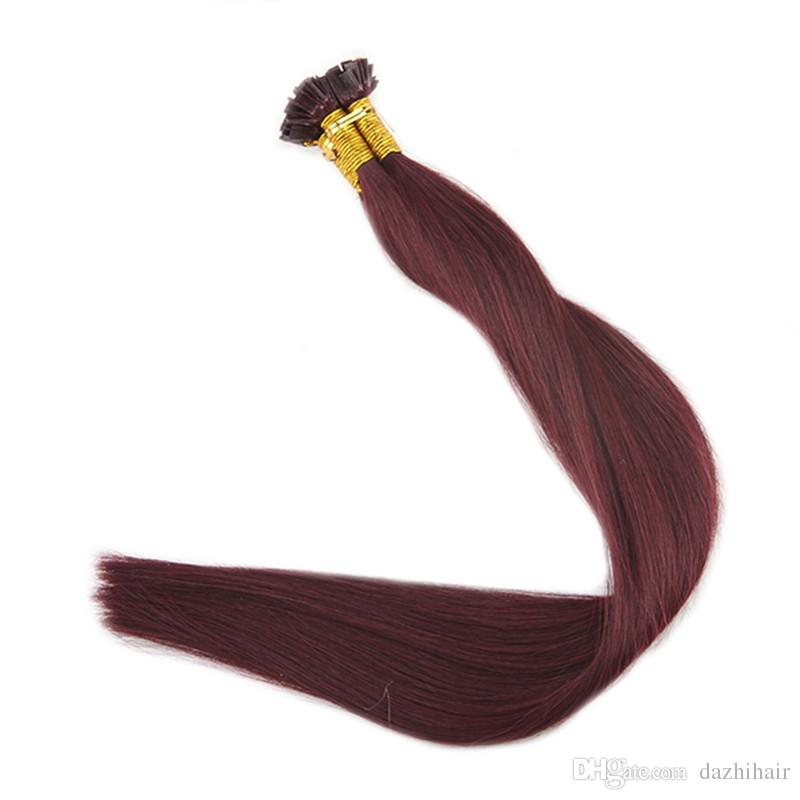 Pre Bonded Flat Tip Hair Extensions Wine Red Color 99j 100 Remy