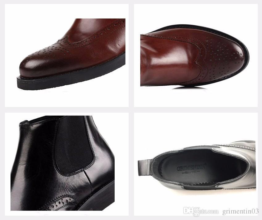 GRIMENTIN Venta caliente marca de moda botas de cuero genuino hombres vestido botas diseñador italiano para hombre botines negro marrón hombre de negocios zapatos
