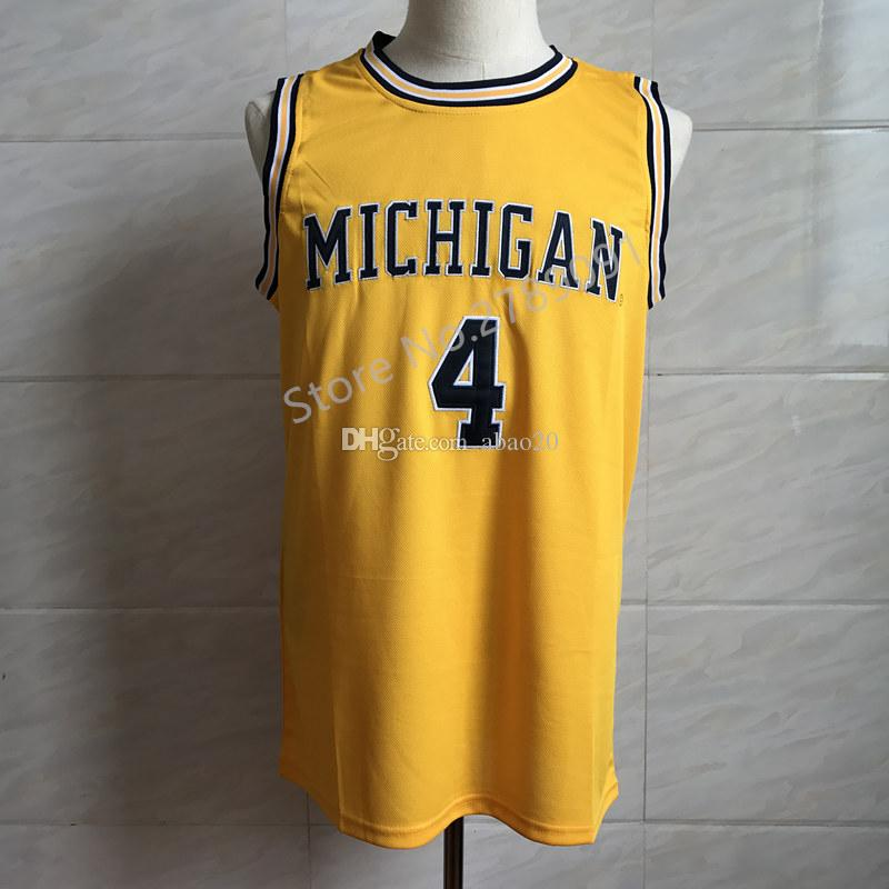 buy online 29b2f 050b4 #4 Chris Webber Michigan Wolverines College Basketball Jersey Embroidery  Stitched Customize any number and name Jerseys