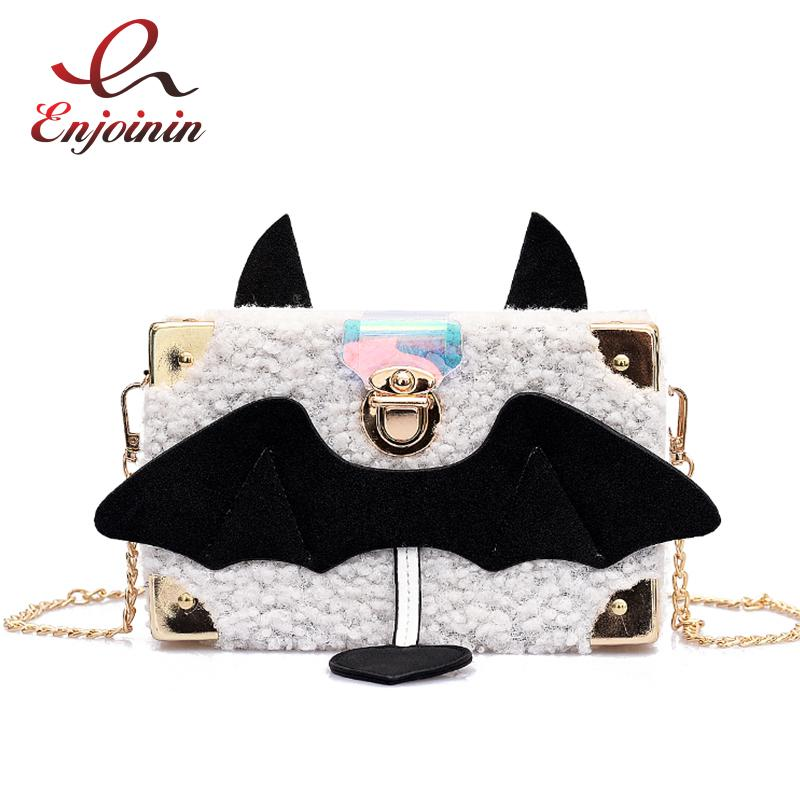 New Syle Cute Devil Design Caja de lana Bolso de embrague diario informal Bolso bandolera Crossbody Mini Messenger Flap Flap para mujeres