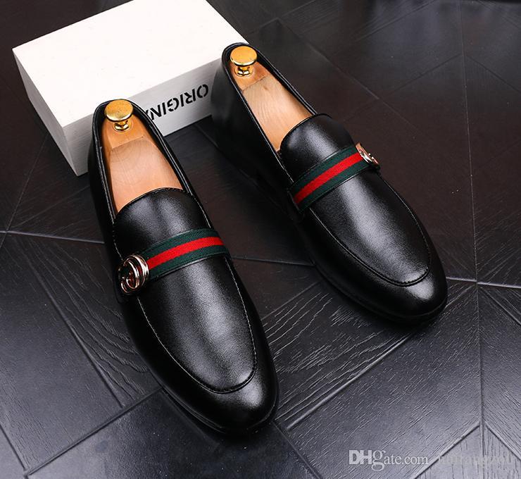 2018 새로운 웨딩 드레스 신발 남자 블랙 정품 가죽 곡물 디자이너 남자 비즈니스 신발 흡연 슬리퍼 크기 재고 있음