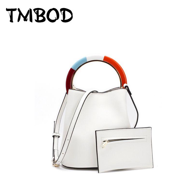 New 2018 Design Patchwork Bucket Bag Classic Small Tote Women Split ... 9b94c03b8d294