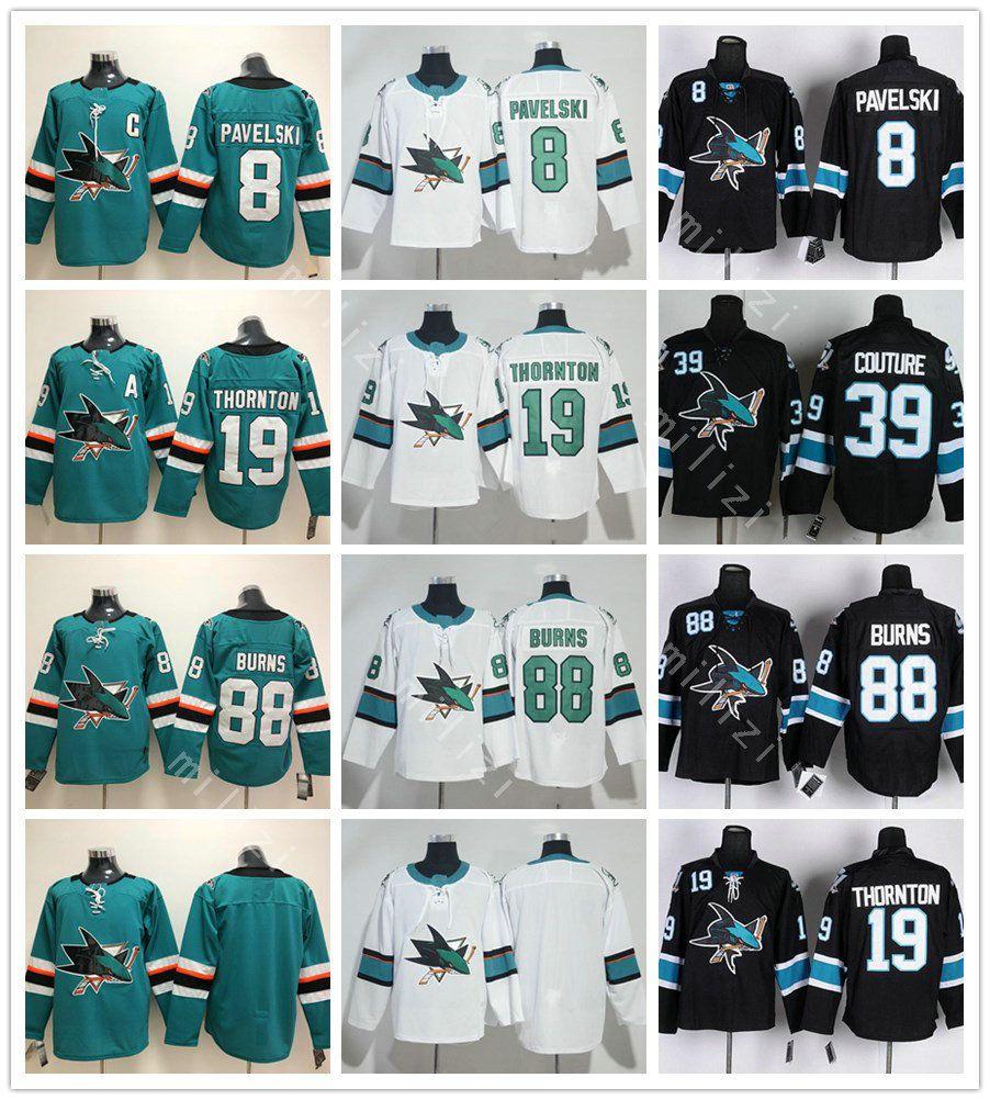 cheaper 3c694 39777 San Jose Sharks Hockey 8 Joe Pavelski Jersey 2018 Green White Black  Stitched 19 Joe Thornton 39 Logan Couture 88 Brent Burns Jerseys
