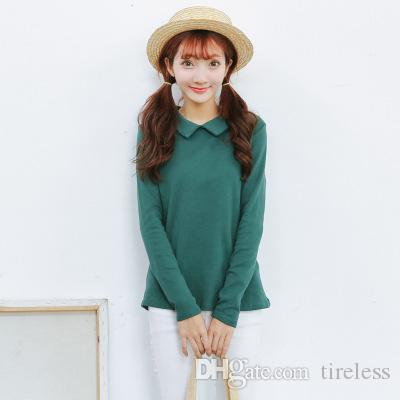 This year's new female fashion leisure all-match slim long sleeved T-shirt Lapel shirt ladies T-shirt, fashionable style and looks good