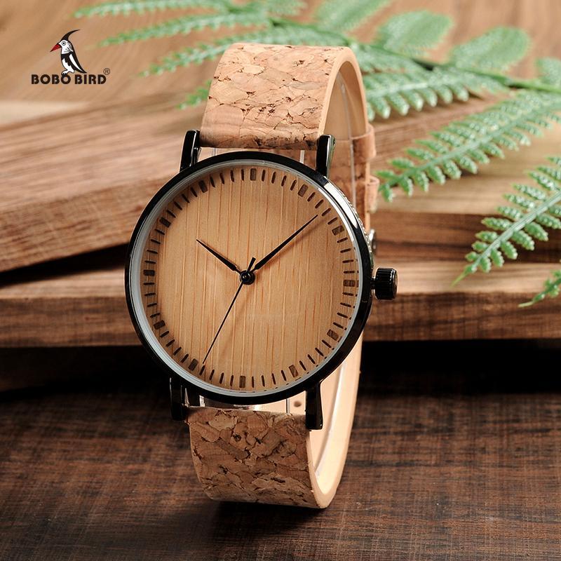 21747e19107 Compre BOBO PÁSSARO De Madeira Dial Relógios Correia De Cortiça Relógio De  Madeira Relógios Para Homens E Mulheres Relogio Feminino C E19 GOTA De  TRANSPORTE ...