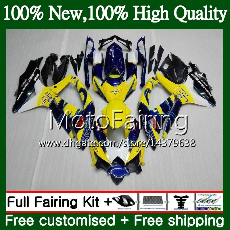 Cuerpo para SUZUKI GSXR750 08 09 10 K8 GSXR 600 08 10 26MF16 GSX-R750 Azul Amarillo GSX-R600 GSXR 750 GSXR600 2008 2009 2010 Carrocería de carenado