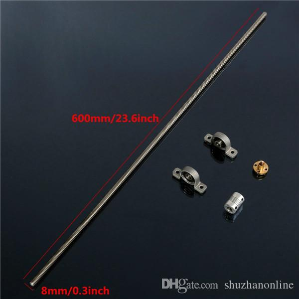 T8 600mm Stainless Steel Lead Screw Set with Mounted Ball Bearing and Shaft Coupling